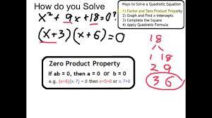 solve x 2 9x 18 0