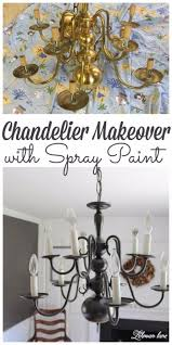 super easy chandelier makeover with spray paint