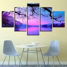 <b>Purple Sunset</b> Tree <b>5 panel</b> canvas Wall Art Home Decor Poster Print