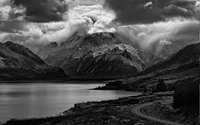 Nature Landscape Lake Mountain Road Clouds Monochrome