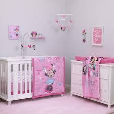 disney baby minnie mouse all about bows 4 piece nursery crib bedding set pink