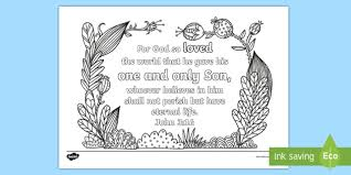 John 316 Mindfulness Coloring Page Bible Memory Memorization