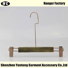 wbw 002 wooden pant hanger with long metal hook bottom hanger with clips