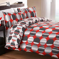 fusion orion geometric circle print duvet cover set red double linens limited