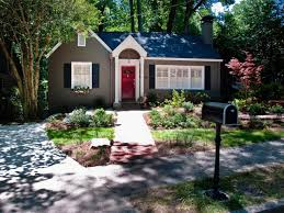 Precious Red Painted Wood Front Door Then Grey Painted Wall Added Black  Iron Mailbox Along With