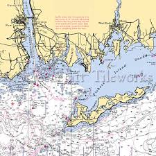 Connecticut Mystic Fishers Island Sound Nautical Chart Decor