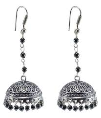 jaipuri jhumka oxidized jhumkai dome shaped hematite dangle chandelier earring silvesto india pg