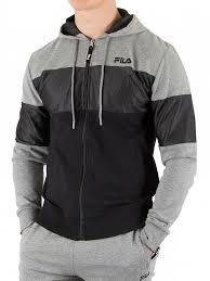 fila zip hoodie. fila vintage grey marl camron cut and sew zip hoodie
