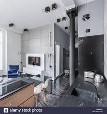 Moderne Wohnlandschaft Mit Küche Offen Zum Wohnzimmer Und