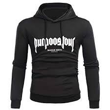 Lmtime Big Mens Letter Print Sweatshirt Long Sleeve Hoodie
