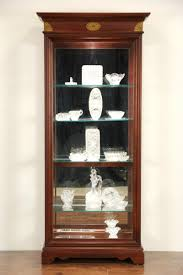 cherry vintage lighted curio display cabinet adjule glass shelves