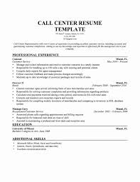 Resume Sample For Call Center With No Experience Valid Resume