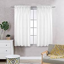 Privacy Sheer Curtains for Bedroom Kitchen Window Casual Weave Wide Width  Linen Look White Curtain Panels