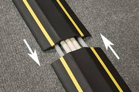 office cable protector. The Ribbed Back Makes Lengths Non-slip, So Saving Need For Adhesive Tape, While Pre-split Installation Quick And Easy. Office Cable Protector