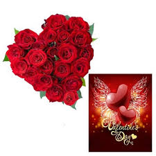 red roses heart with valentine card