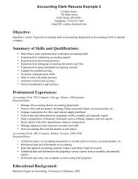accounting clerk job description for resume samplebusinessresume job description accounting clerk resume example objective summary of skills and qualifications