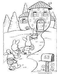 Coloring Pages Easter Bunnys House Coloring Home