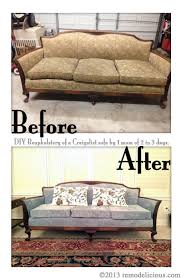 remodelicious diy tutorial on reupholstering an antique sofa could also work for chairs start to finish in 3 days with 2 kids at home