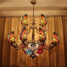 creative stained glass led pendant light american tiffany chandelier lamp living room pendant light bilayer erfly pendant light bulbs red pendant