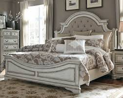 white bedroom sets. Antique White Traditional Upholstered King Size Bed - Magnolia Manor Bedroom Sets