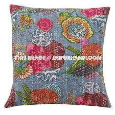 24x24 Gray Kantha Pillow Cover Kantha throw Pillow kantha cushion Co