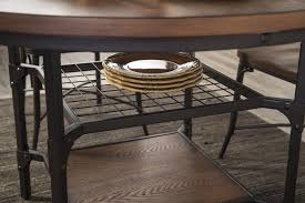 Metal And Wood Kitchen Table 5 Piece Bistro Style Metal Wood Round Dining Room Table Set By