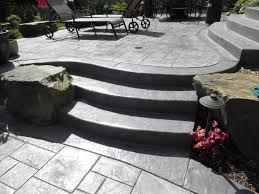 concrete patio with square fire pit. Beautiful Natural Backyard Landscaping Presenting Oval Pool With Concrete Patio Square Fire Pit