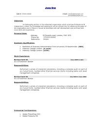 Banker Resume Objective Resumes Personal Banker Resume Licensed Sample Templates Free 9