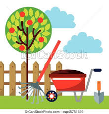 Small Picture EPS Vectors of beautiful garden design gardening equipment over