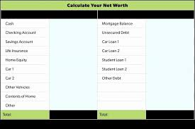 Networth Form Net Worth Form Freeletter Findby Co