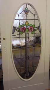 leaded glass door from residential property at giffnock door glazed in studio after being repaired