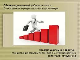 Планирование карьеры с учетом ценностных ориентаций сотрудников  Объектом дипломной работы является Планирование карьеры персонала организации Предмет дипломной работы планирование карьеры персонала с учетом