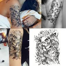 černá Velká Sexy Lebka Poker Rose Body Body Dočasné Tattoo Rameno Rameno Tattoo Vodotěsné At Vova
