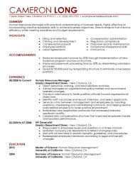 Human Resources Resume Objective Examples Professional Resumes S