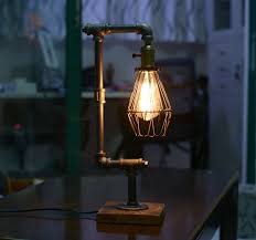 Water Lamps Bird Cage Designer Steampunk Water Piping Desk Top Table Lamp Real