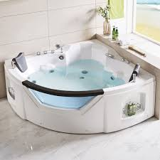 61 x 61 in fan shaped back to wall whirlpool tub with double pillow dk