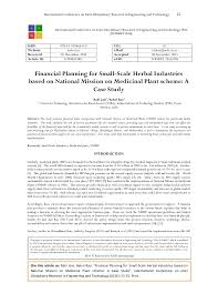 financial planning for small scale herbal industries based on nationa