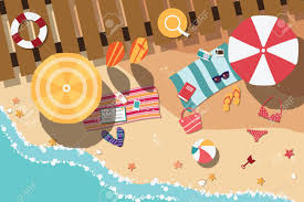 フラットなデザイン海側ビーチ アイテムイラストで夏のビーチの