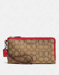 Coach Double Zip Wallet in Signature Fabric