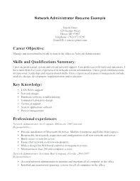 Back Office Resume Sample Network Administrator Resume Template