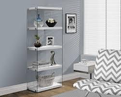 Glass Bookshelf Amazoncom Monarch Specialties I 3289 Glossy White With Tempered