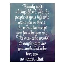 Family Isn T Always Blood Quotes Gorgeous Family Isn't Always Blood Quote Postcard Zazzleau