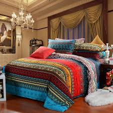 aqua blue and garnet red vintage boho style exotic indian pattern multi color stripe print full queen size bedding sets