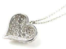 auth tiffany co pave diamond puffed heart necklace pt 950 platinum pendant reebonz canada