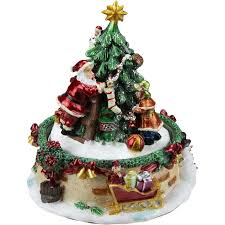 Animated Santa Claus and Christmas Tree Winter Scene Rotating Music Box Northlight
