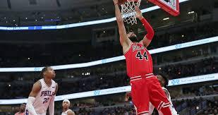 nikola mirotic dunk. Exellent Dunk Nikola Mirotic 44 Of The Chicago Bulls Moves To Basket Against  Philadelphia 76ers Intended Dunk I
