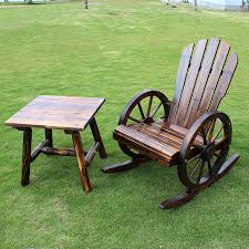 outdoor wooden rocking chairs and table
