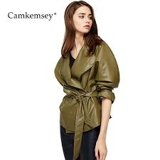 camkemsey autumn winter soft pu leather jacket women casual lapel lace up shrink waist faux leather