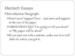 Macbeth Essays Introduction Paragraph Ppt Video Online Download