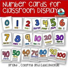 Number Cards For Classroom Display Math Anchor Charts